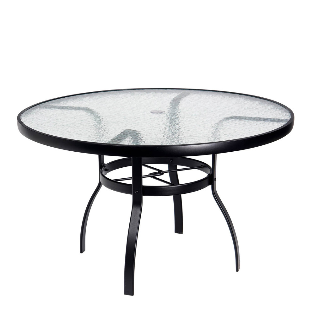 Woodard deluxe 48 round glass top dining table 826148w for Outdoor dining table glass top