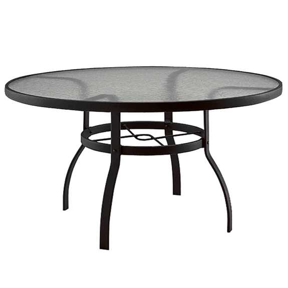 Woodard deluxe 60 inch round glass top dining table 827360w for Table 52 botswana