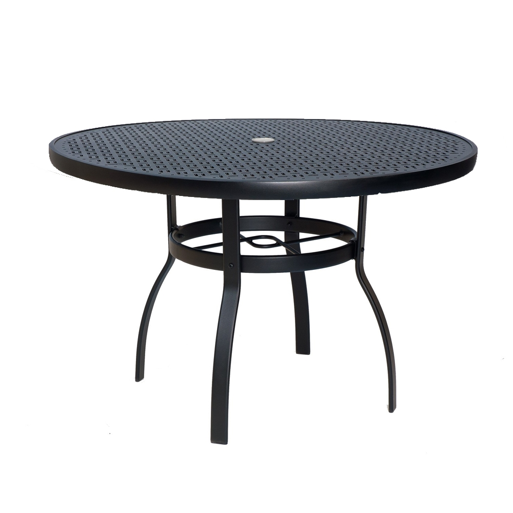 woodard deluxe 42 inch round lattice top dining table 826142wl. Black Bedroom Furniture Sets. Home Design Ideas