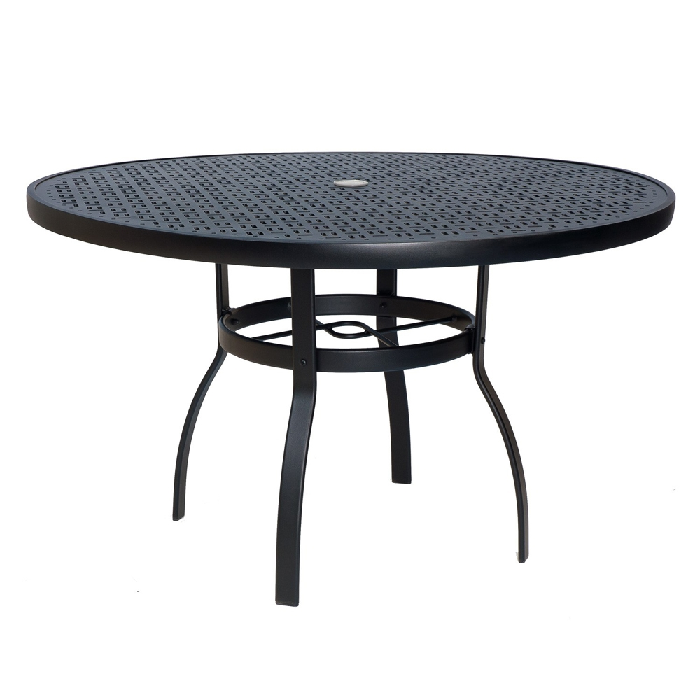 Woodard deluxe 48 inch round lattice top dining table for Table 52 reviews