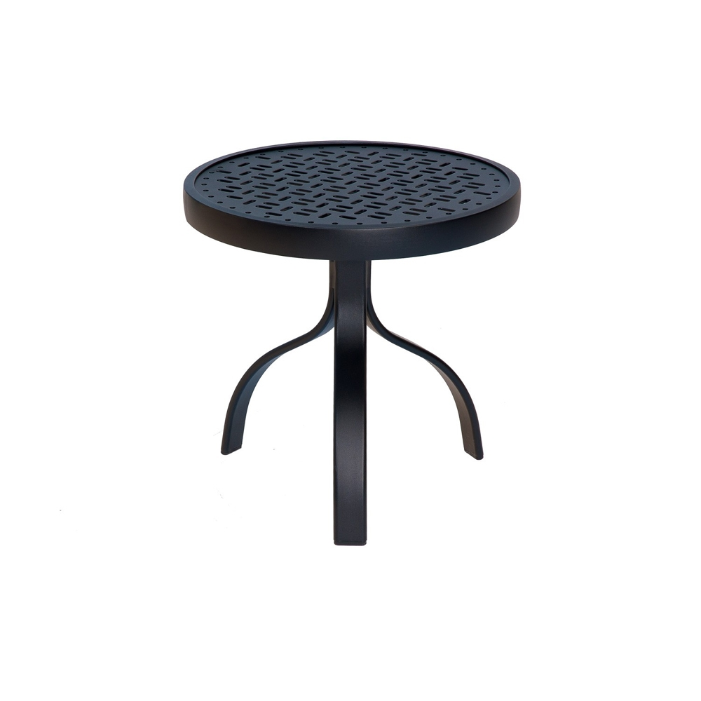 Woodard Deluxe 18 Inch Round End Table With Lattice Top