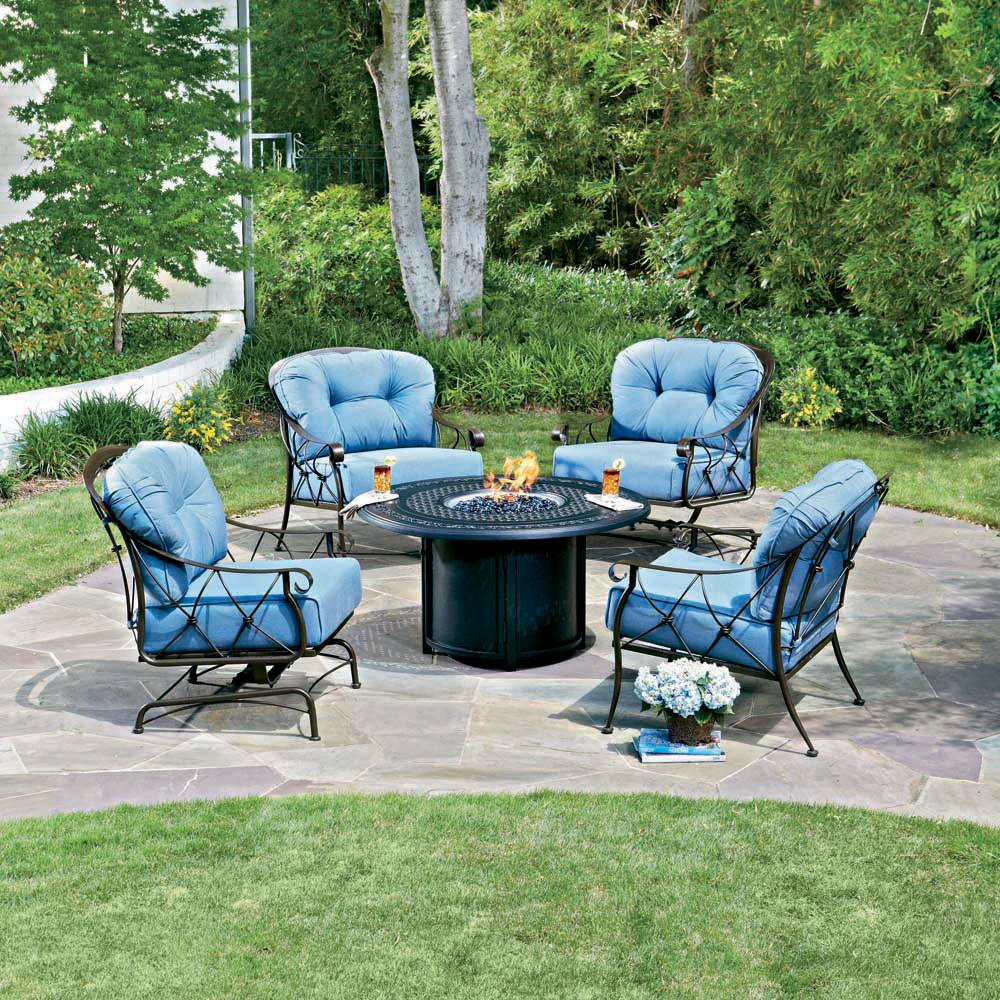Woodard Derby Wrought Iron Fire Pit Chat Set WDDERBYSET - Wrought iron fire pit table