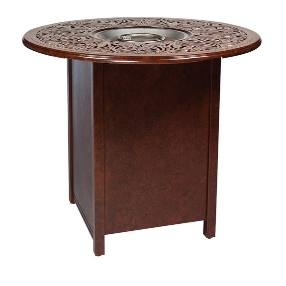 woodard aluminum bar fire table with round burner 1cm3sqrb. Black Bedroom Furniture Sets. Home Design Ideas