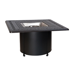 Woodard Wrought Iron Base Fire Table with Square Burner - 2TM338