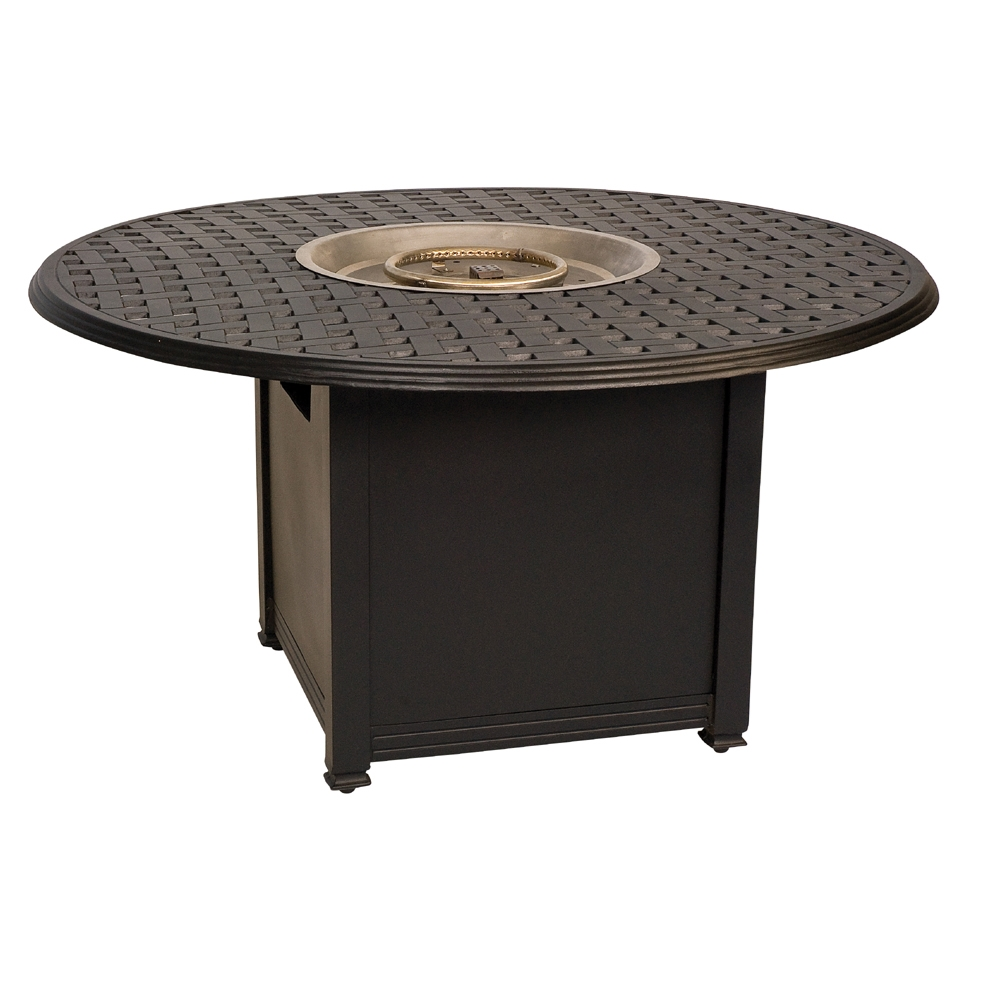 Woodard Chat Height Aluminum Square Fire Pit Table With Thatch Top    650748 04948FP
