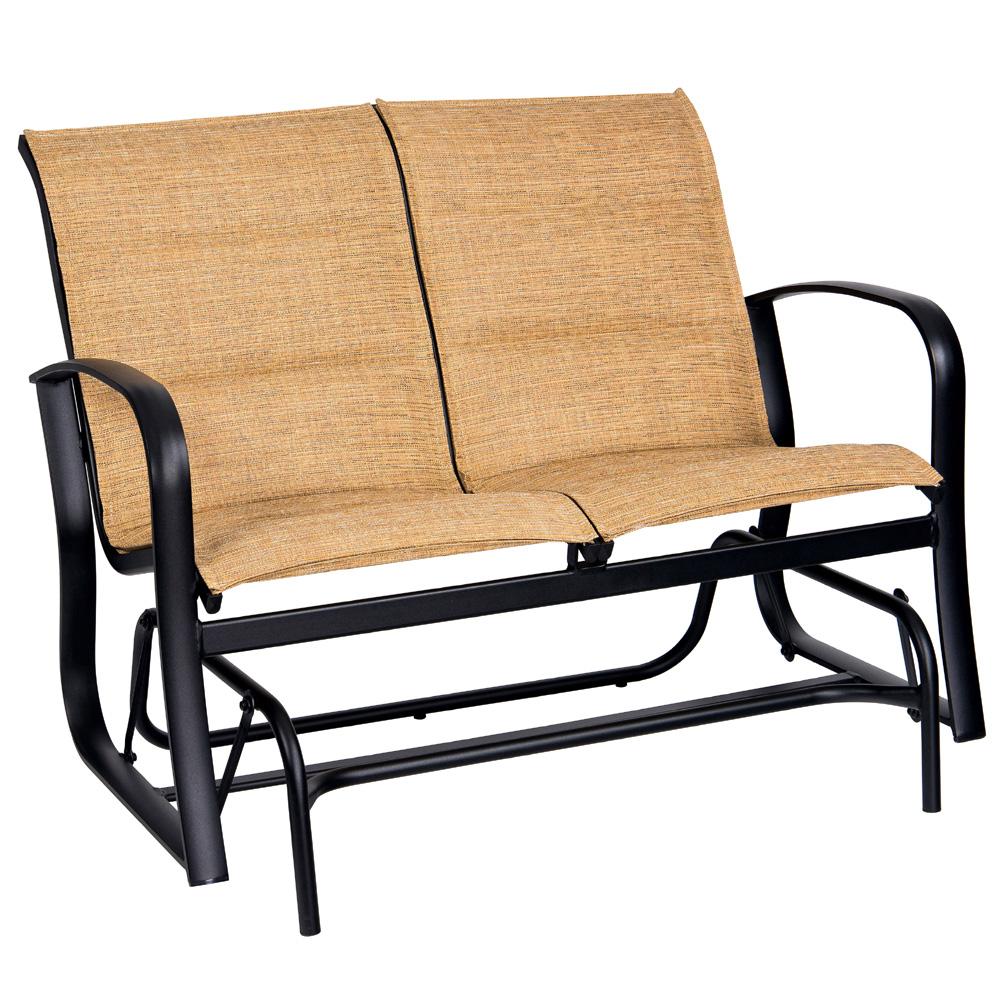 Woodard Fremont Padded Sling Love Seat Glider 2p0573