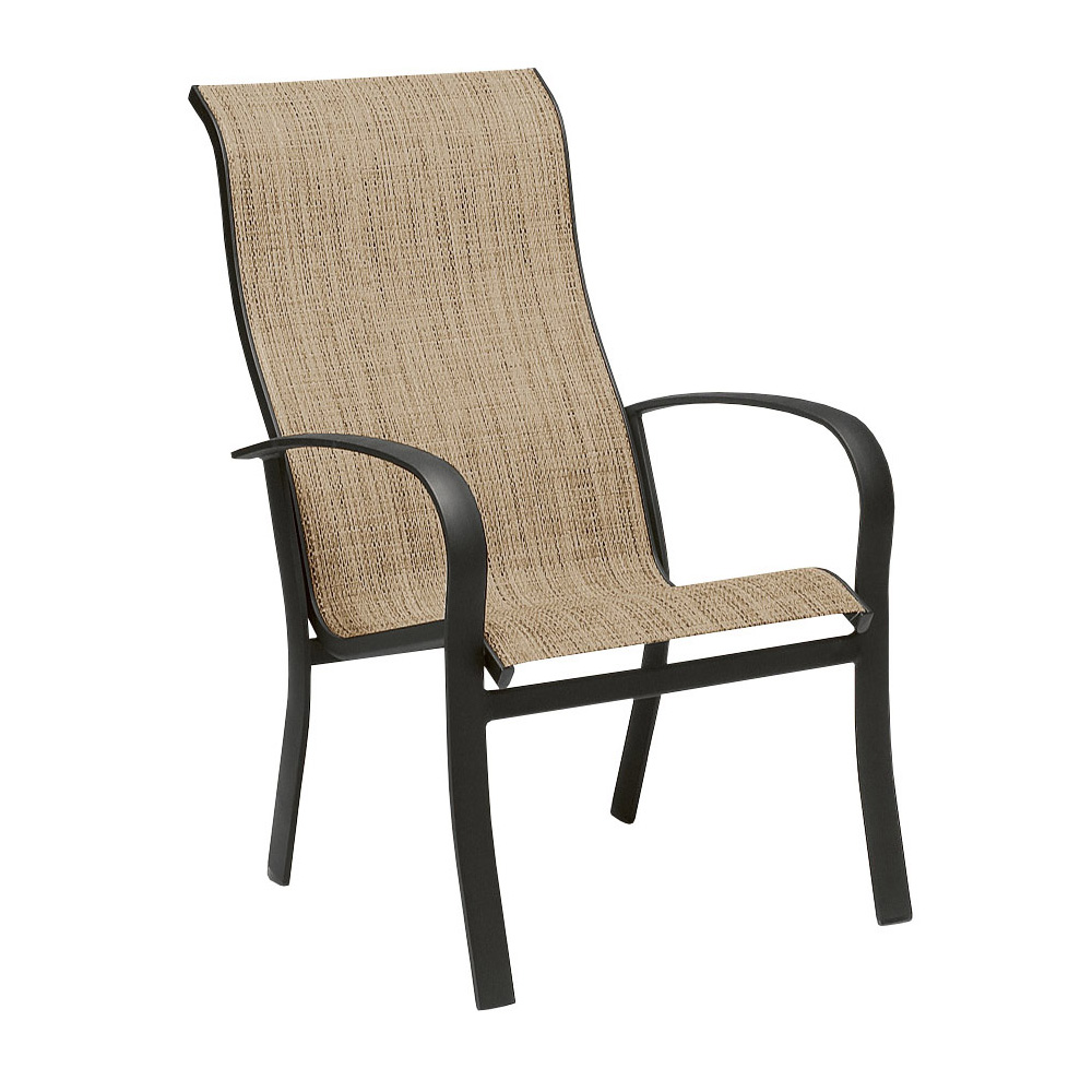 Woodard Fremont Sling High Back Stackable Dining Arm Chair