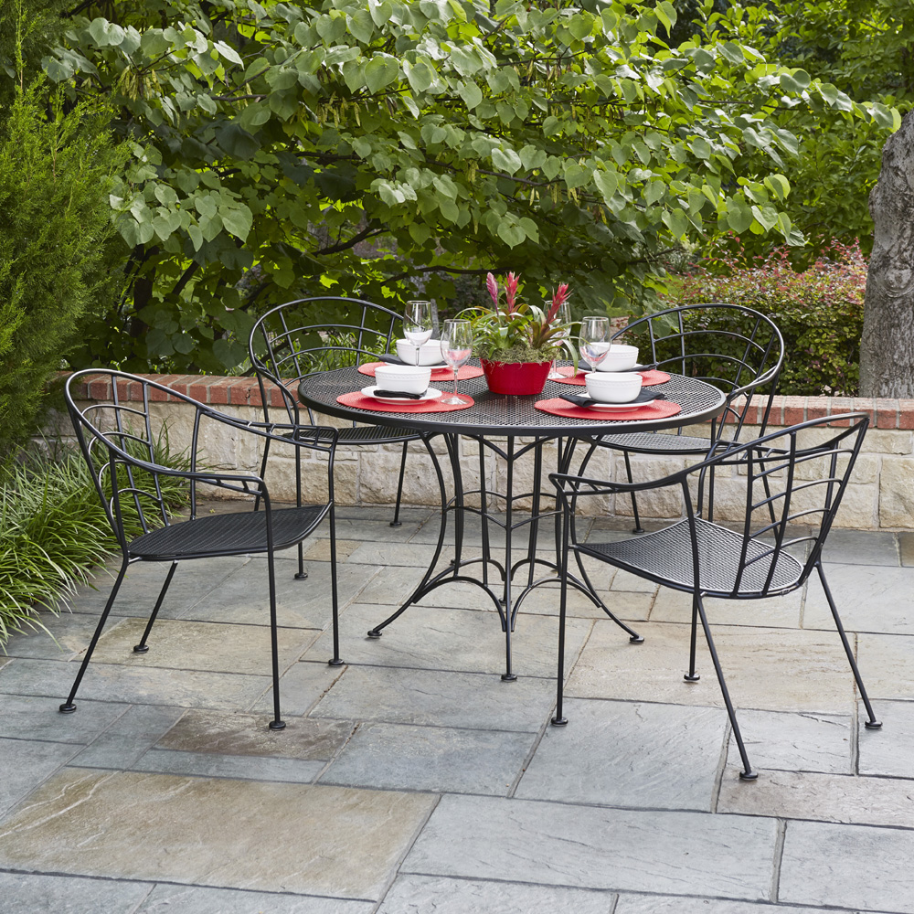 High Quality Woodard Hamilton Wrought Iron Vintage Patio Dining Set   WD HAMILTON SET3