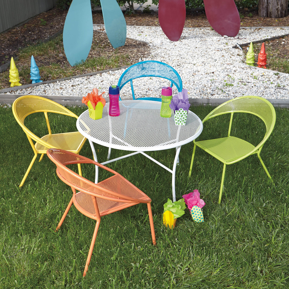 Woodard Spright Kids Wrought Iron Patio Furniture Set With Four Chairs