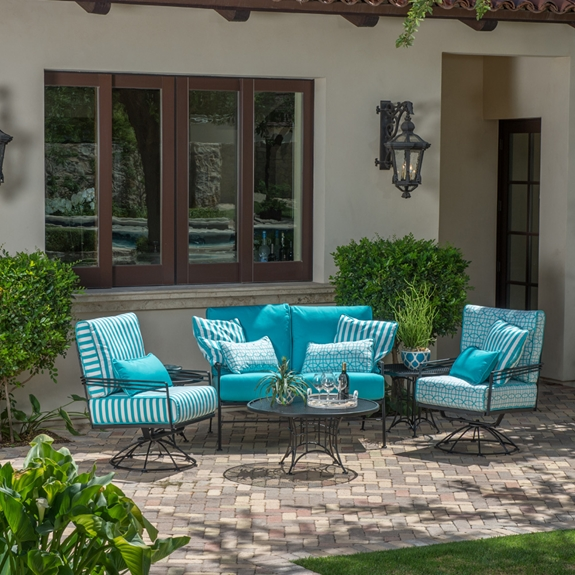 Woodard Madison Wrought Iron Love Seat and Swivel Rocker Lounge Chair Set - WD-MADISON-SET4