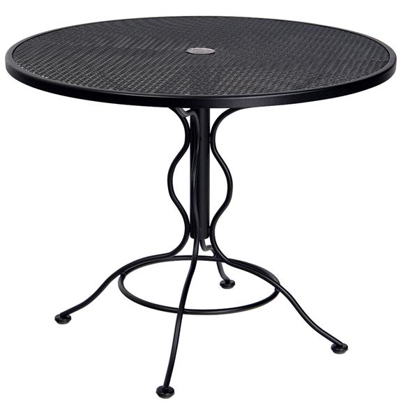 Woodard 36 Inch Round Mesh Top Set Up Bistro Umbrella Table 190135