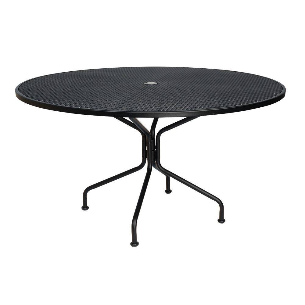woodard 54 inch round premium mesh top rta umbrella table 190227