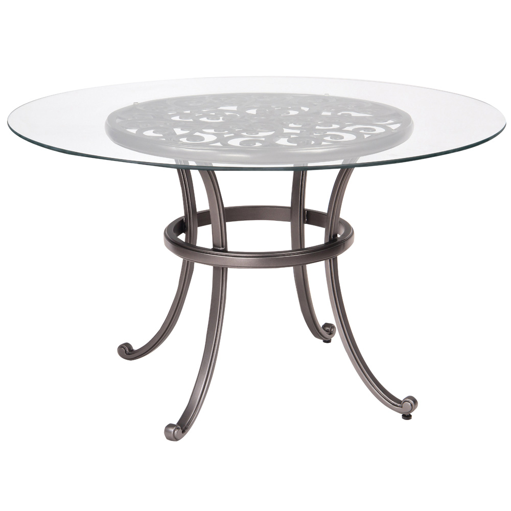Woodard New Orleans 48 Inch Round Umbrella Table With Glass Top   3W0436