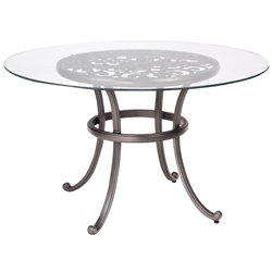 Woodard New Orleans 48 Inch Round Umbrella Table with Glass Top - 3W0436