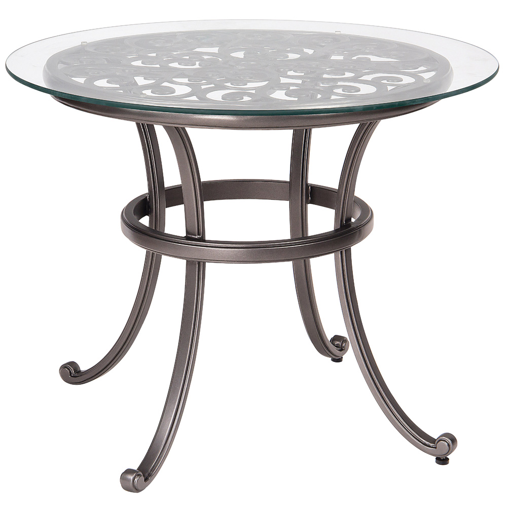 Nice Woodard New Orleans Bistro Table With Glass Top   3W0437