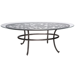 Woodard New Orleans Oval Umbrella Table with Glass Top - 3W0684