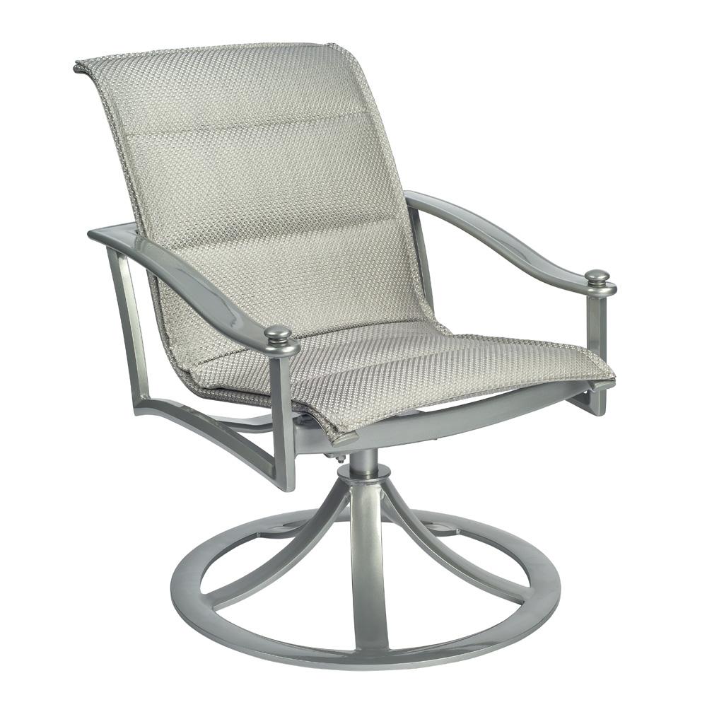 Etonnant Woodard Nob Hill Padded Sling Swivel Rocking Dining Arm Chair   300572