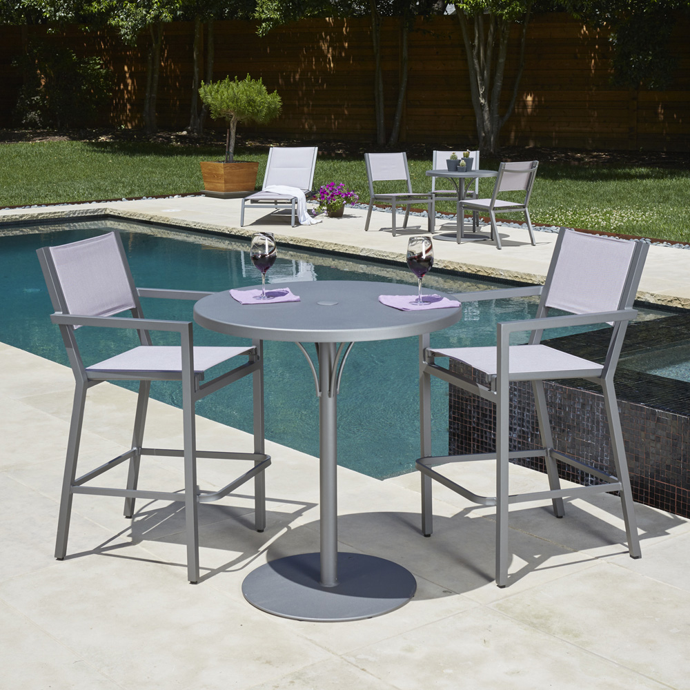 Woodard Palm Coast Slat Dining Arm Chair - Stacking
