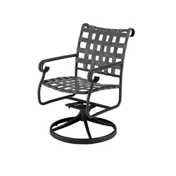 Woodard Ramsgate Strap Swivel Rocker Dining Arm Chair - 160472