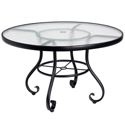 Woodard Ramsgate 36 Inch Round Umbrella Table with Obscure Glass Top - 166438
