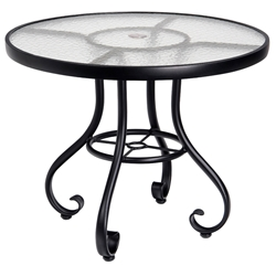 Woodard Ramsgate 48 Inch Round Umbrella Table with Obscure Glass Top - 166582