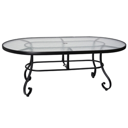 Woodard Ramsgate 42 Inch x 72 Inch Oval Umbrella Table with Obscure Glass Top - 166625