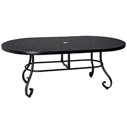 Woodard Ramsgate 42 Inch x 72 Inch Oval Umbrella Table with Lattice Top - 166625L