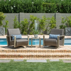 Woodard Reynolds Swivel Lounge Chairs with Side Table Outdoor Set - WD-REYNOLDS-SET4