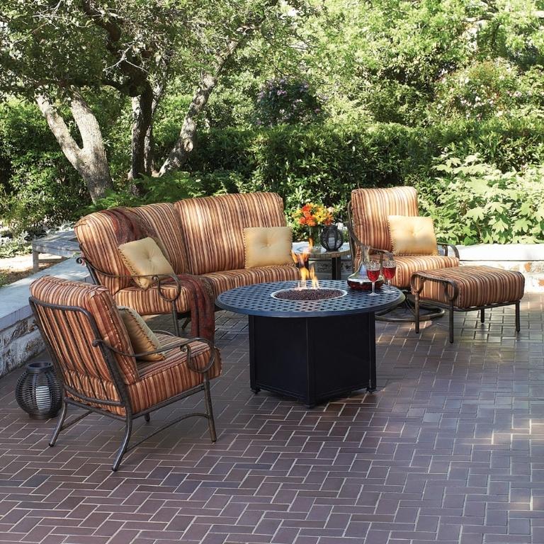Woodard Ridgecrest Cushion Fire Pit Patio Furniture Set