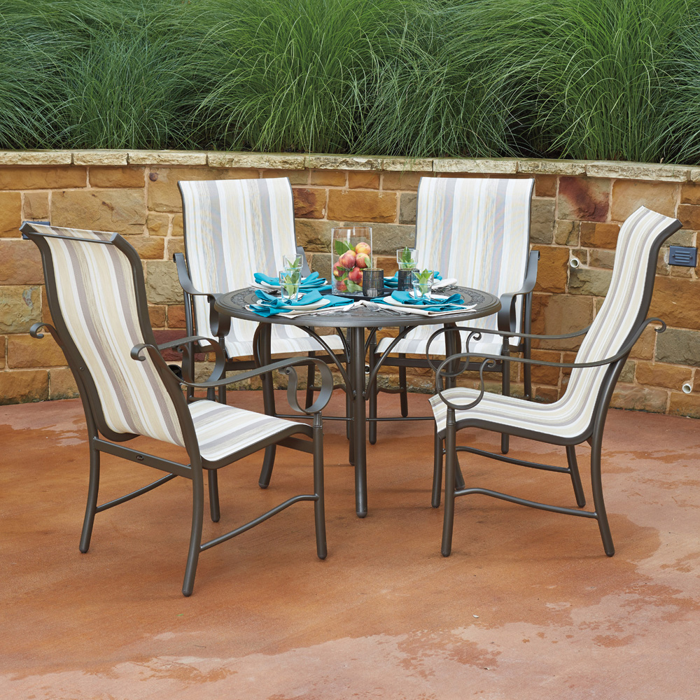 Woodard Ridgecrest Dining Set With High Back Sling Chairs    WD RIDGECRESTSLING SET2