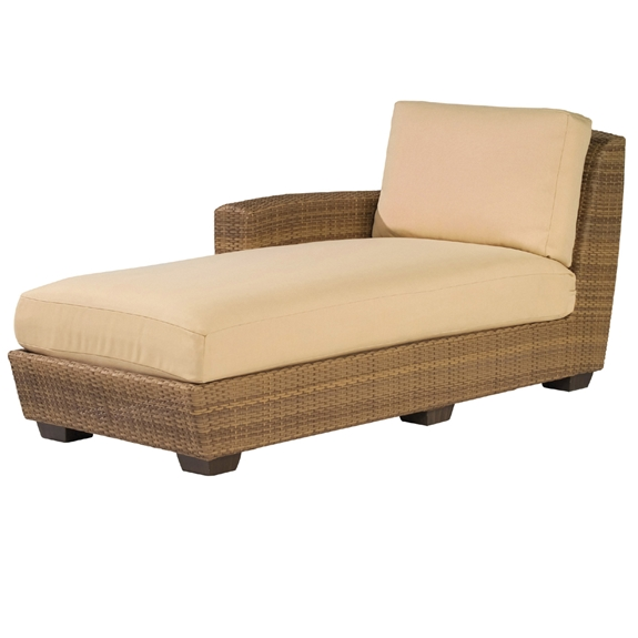 Woodard saddleback left arm facing wicker chaise lounge for Armed chaise lounge