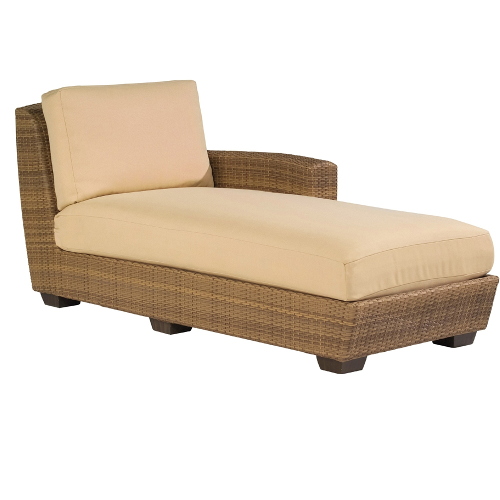Woodard saddleback right arm facing wicker chaise lounge for Armed chaise lounge