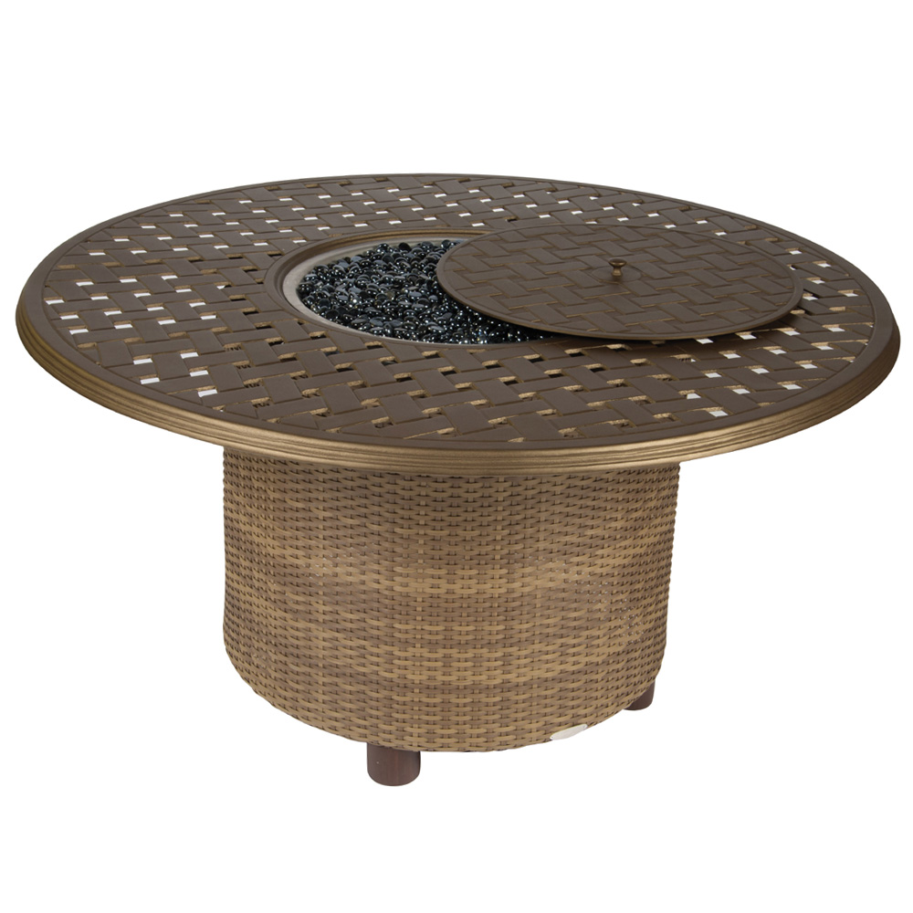 Woodard Saddleback Chat height Fire Table with 48 Inch Thatch Top - S523711