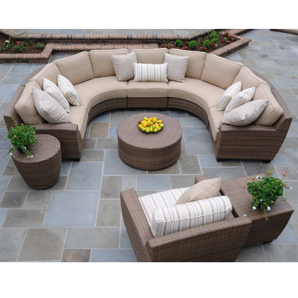 Curved Sofa Atlanta: Woodard Canaveral Eden Modern Wicker Sectional Sofa And