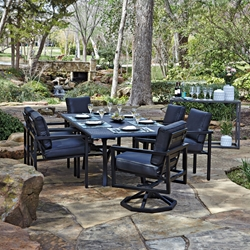 Woodard Salona Dining Set with Hammered Metal Dining Table - WD-SALONA-SET3