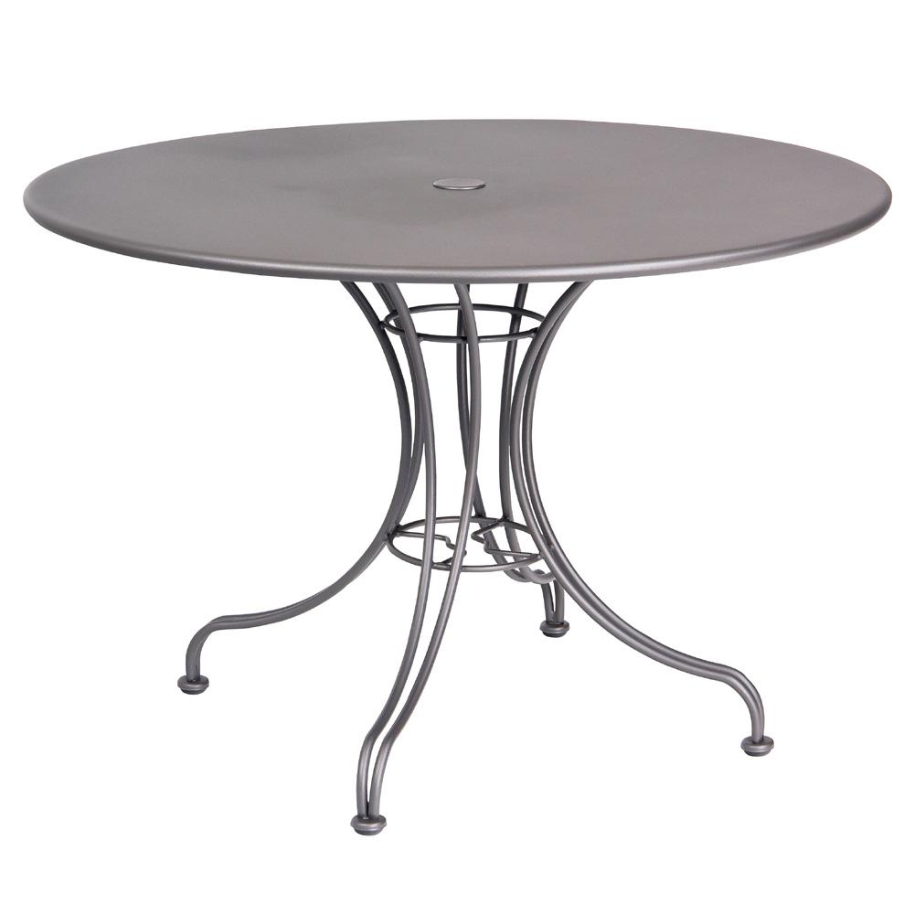 "Woodard 42"" Round Solid Top Umbrella Table w Universal Base"