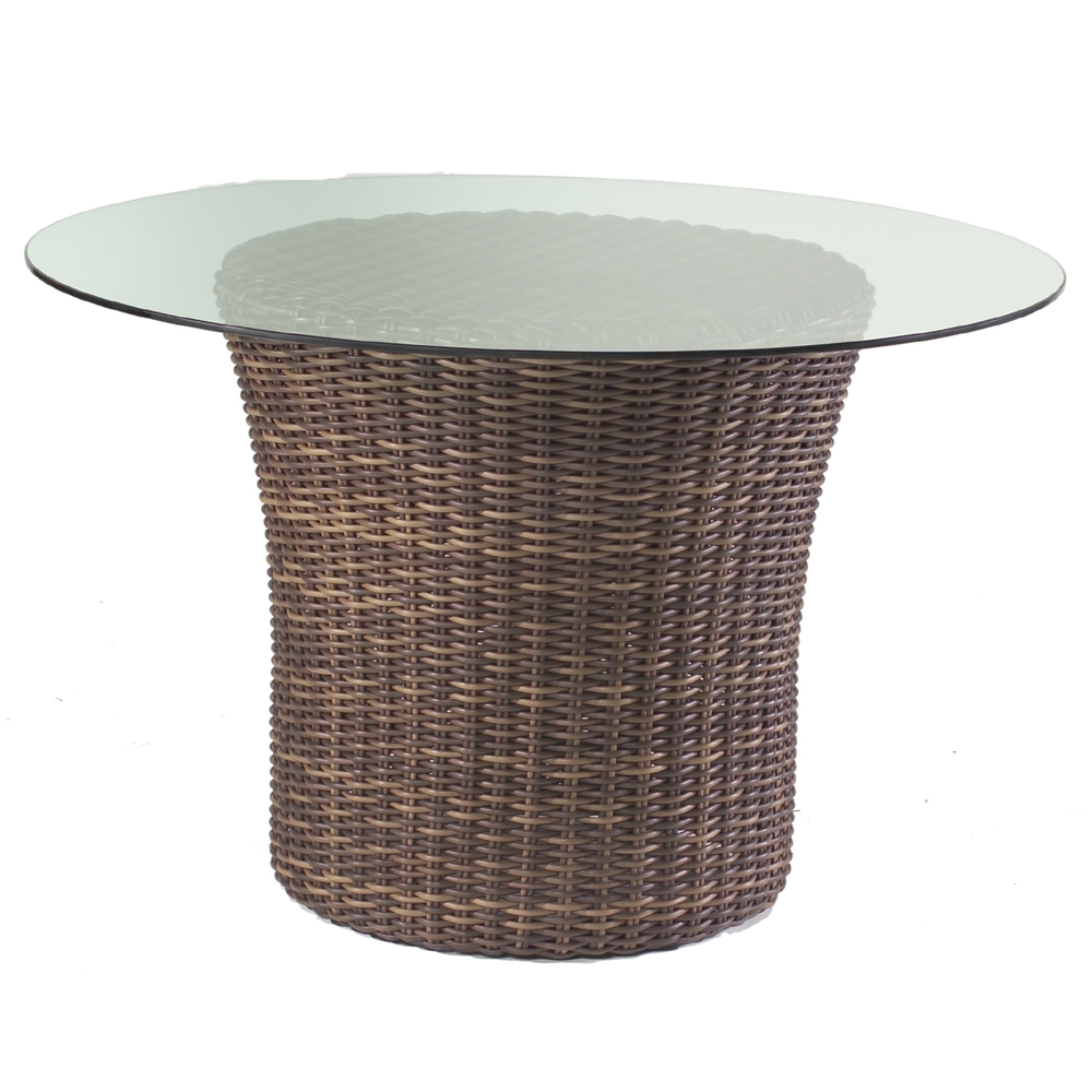 Woodard Sonoma 48 Quot Round Glass Top Wicker Dining Table
