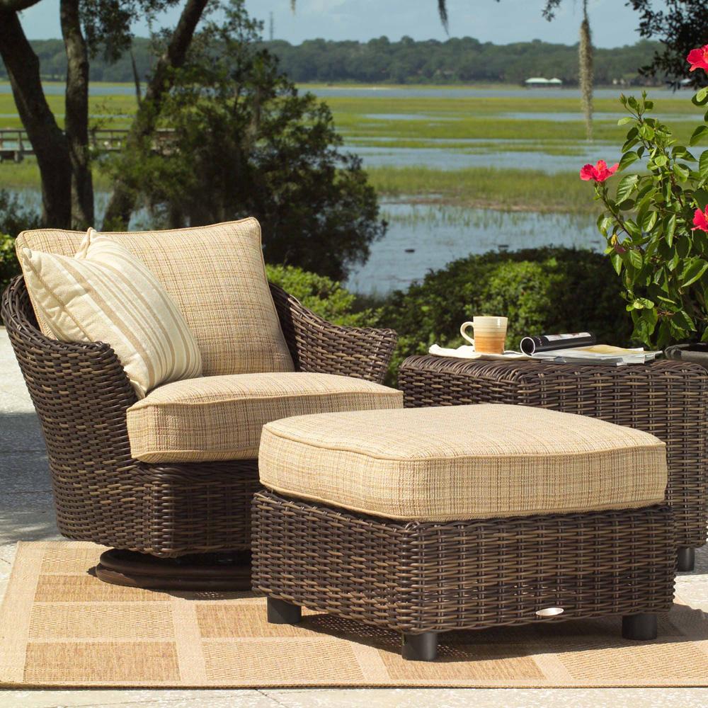 Woodard Sonoma 3 Piece Wicker Swivel Lounge Chair Set