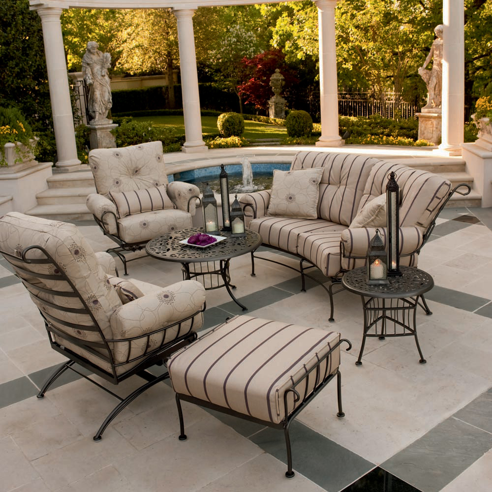 Woodard Terrace 6 Piece Patio Lounge Set - WOODARD-TERRACE-LOUNGE6 - Woodard Terrace Wrought Iron 6 Piece Patio Furniture Set WD