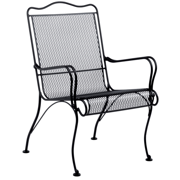 Woodard tucson wrought iron high back lounge chair 1g0006 for Used patio furniture tucson