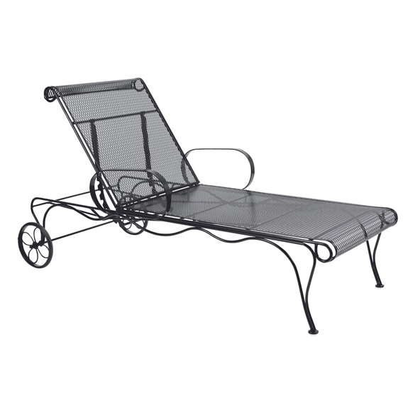 Woodard tucson wrought iron adjustable chaise lounge 1g0070 for Black wrought iron chaise lounge