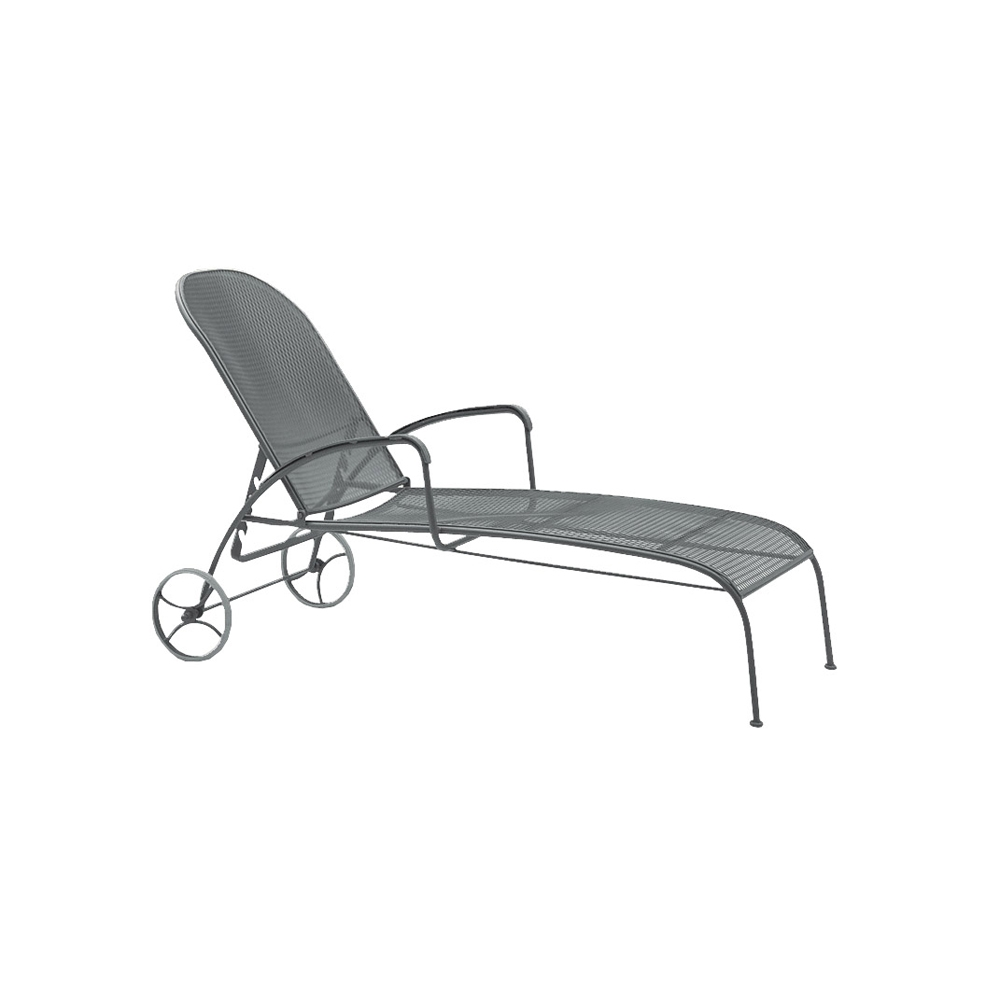 Woodard valencia wrought iron adjustable chaise lounge for Black wrought iron chaise lounge