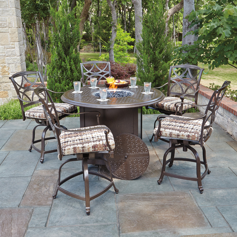 Exceptional Woodard Wiltshire 6 Piece Counter Height Fire Pit Set