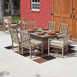 Woodard Woodlands 7 Piece Fire Pit Dining Set - WOODARD-WOODLANDS-SET2