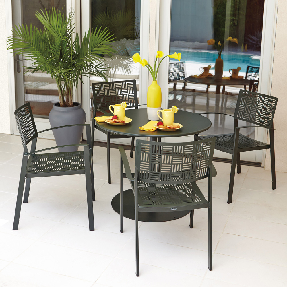 Woodard New Century Patio Dining Set With Benches