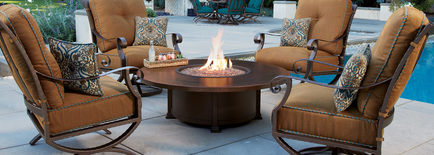 Ow Lee Hammered Copper Fire Pit Tables Usa Outdoor Furniture