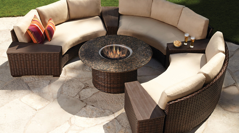 Lloyd Flanders Contempo Curved Sectional Sofa And Fire Pit Set