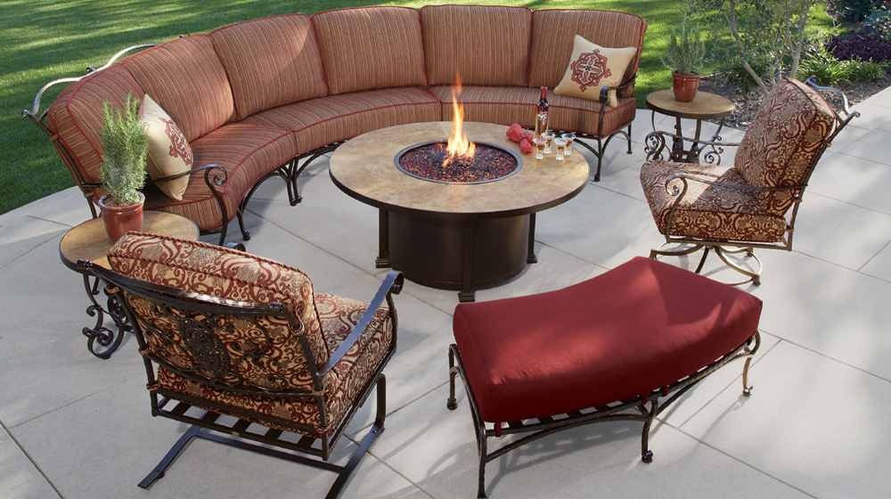 OW Lee San Cristobal Curved Sectional Set with Fire Pit Table