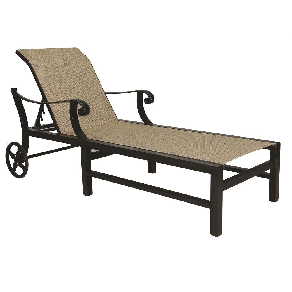 Castelle Bellagio Adjustable Sling Chaise Lounge with Wheels - 2692S