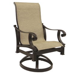 Castelle Bellagio Sling Swivel Rocker Dining Chair - 2697S